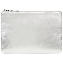 Buy Jaeger Leather Zip Lock Clutch Bag, Silver Online at johnlewis.com