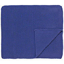 Buy Joules Moss Stitch Throw, Deep Blue Online at johnlewis.com