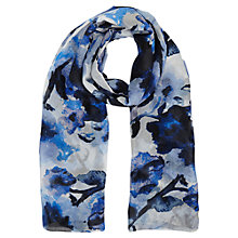 Buy East Watercolour Floral Silk Scarf, Blue Online at johnlewis.com