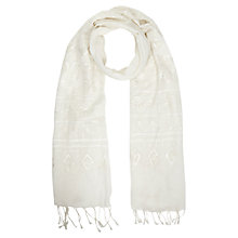 Buy East Embroidered Scarf, White Online at johnlewis.com
