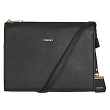Buy DKNY Bryant Park Saffiano Leather Thick Edge Across Body Bag, Black Online at johnlewis.com