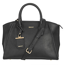 Buy DKNY Chelsea Vintage Leather Satchel, Black Online at johnlewis.com