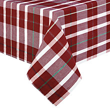Buy John Lewis Ruskin House Tartan Tablecloth, Putty / Red Online at johnlewis.com