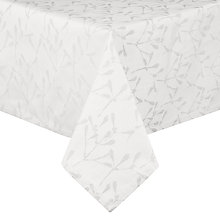 Buy John Lewis Mistletoe Tablecloth, Silver / White Online at johnlewis.com