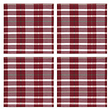 Buy John Lewis Ruskin House Tartan Napkins, Set of 4, Putty / Red Online at johnlewis.com