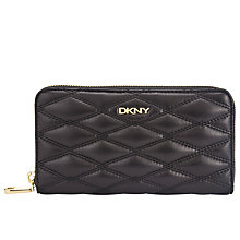 Buy DKNY Gansevoort Large Quilted Leather Zip Around Purse, Black Online at johnlewis.com