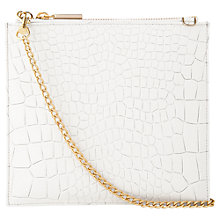 Buy Whistles Perry Tumbled Croc Leather Chain Clutch Bag, White Online at johnlewis.com