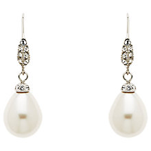 Buy Finesse Swarovski Crystal and Teardrop Pearl Hook Earrings, Silver/White Online at johnlewis.com