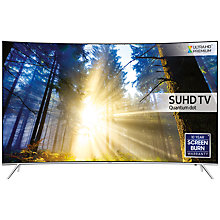 "Buy Samsung UE43KS7500 Curved SUHD HDR 1,000 4K Ultra HD Quantum Dot Smart TV, 43"" with Freeview HD + Bluetooth Soundbar & Subwoofer, Silver Online at johnlewis.com"