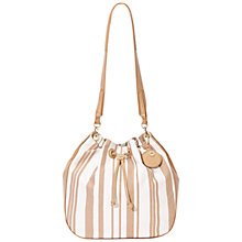 Buy Nica Alice Drawstring Shoulder Bag, Tan Stripe Online at johnlewis.com