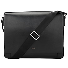 Buy HUGO by Hugo Boss Digital Leather Messenger Bag, Black Online at johnlewis.com