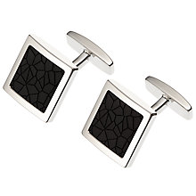 Buy BOSS Mhylo Enamel Insert Square Cufflinks, Black Online at johnlewis.com