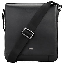 Buy HUGO by Hugo Boss Digital Leather Flight Bag, Black Online at johnlewis.com