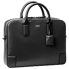 Buy HUGO by Hugo Boss Digital Leather Briefcase, Black Online at johnlewis.com