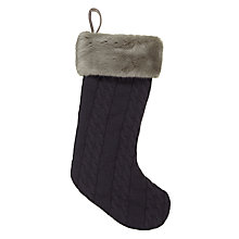 Buy John Lewis Cable Knit & Faux Fur Christmas Stocking Online at johnlewis.com