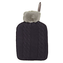 Buy John Lewis Cable Knit & Faux Fur Hot Water Bottle and Cover Online at johnlewis.com