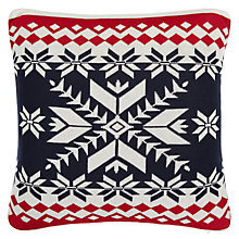 Buy John Lewis Chamonix Motif Cushion , Red / Navy Online at johnlewis.com