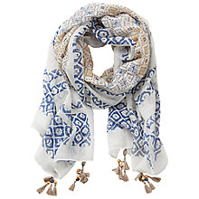 Buy Betty Barclay Printed Scarf, Cream/Blue Online at johnlewis.com