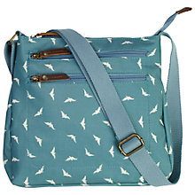 Buy Fat Face Bird Print Across Body Bag, Green Online at johnlewis.com