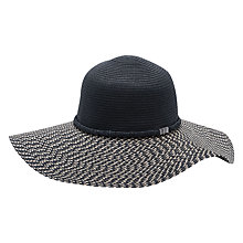 Buy French Connection Vix Floppy Adjustable Hat, Black/Natural Online at johnlewis.com