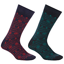 Buy John Lewis Novelty Christmas Socks, One Size, Pack of 2, Navy Online at johnlewis.com