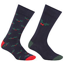 Buy John Lewis Holly Socks, One Size, Pack of 2, Navy Online at johnlewis.com