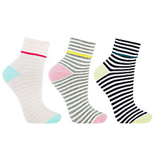 Buy John Lewis Turn Over Cuff Stripe Ankle Socks, Pack of 3, Multi Online at johnlewis.com