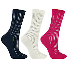 Buy John Lewis Pelerine Crochet Detail Ankle Socks, Pack of 3, Multi Online at johnlewis.com