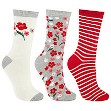 Buy John Lewis Floral Blossom and Stripe Ankle Socks, Pack of 3, Multi Online at johnlewis.com