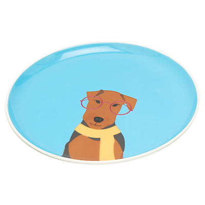 Image of Joules Airedale Terrier Single 22cm Side Plate, Blue