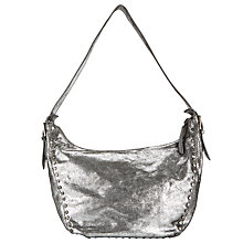 Buy Collection WEEKEND by John Lewis Memphis Leather Stud Hobo Bag, Silver Online at johnlewis.com
