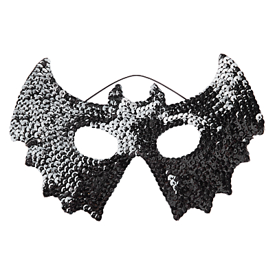 John Lewis Halloween Sequin Bat Mask, Black