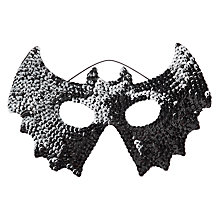 Buy John Lewis Halloween Sequin Bat Mask, Black Online at johnlewis.com
