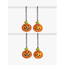 Buy John Lewis Halloween Pumpkin Glitter Hanging Decoration, Orange Online at johnlewis.com