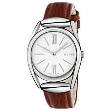 Buy Gucci YA140403 Women's Horsebit Leather Strap Watch, Brick Red/White Online at johnlewis.com