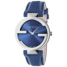 Buy Gucci YA133322 Women's Interlocking G Leather Strap Watch, Blue Online at johnlewis.com