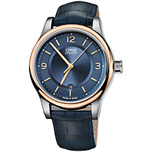 Buy Oris 01 733 7594 4335-07 5 20 85 Men's Classic Date Alligator Leather Strap Watch, Navy Online at johnlewis.com