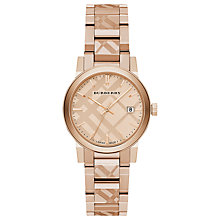 Buy Burberry BU9146 Women's The City Date Bracelet Strap Watch, Rose Gold Online at johnlewis.com