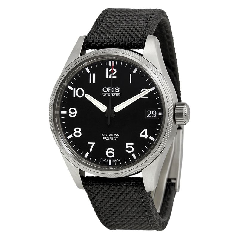 Oris Oris 01 751 7697 4164-07 5 20 15F Men's Big Crown ProPilot Date Fabric Strap Watch, Black