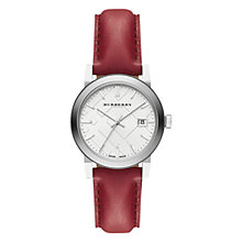 Buy Burberry BU9129 Women's The City Date Leather Strap Watch, Red/White Online at johnlewis.com