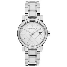 Buy Burberry Bu9100 Women's The City Date Stainless Steel Bracelet Strap Watch, Silver Online at johnlewis.com