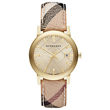 Buy Burberry BU9026 Women's The City Date Pattern Strap Watch, Multi/Gold Online at johnlewis.com