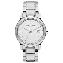 Buy Burberry BU9000 Unisex The City Date Bracelet Strap Watch, Silver Online at johnlewis.com