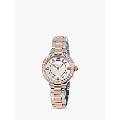 Frédérique Constant FC-200WHD1ERD32B Women's Classics Delight Diamond Two Tone Bracelet Strap Watch, Silver/Rose Gold