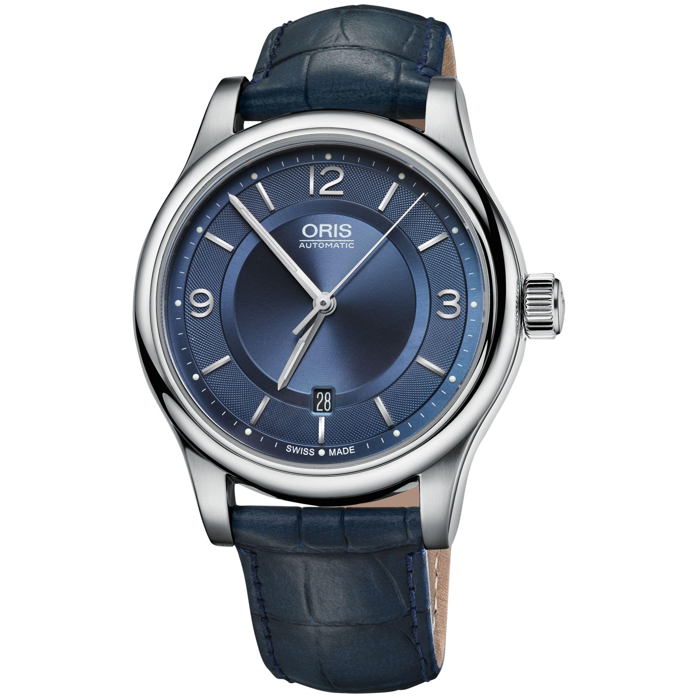 Oris Oris 01 733 7594 4035-07 5 20 85 Men's Classic Date Leather Strap Watch, Navy