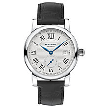 Buy Montblanc 111881 Men's Star Date Alligator Leather Strap Watch, Black/White Online at johnlewis.com