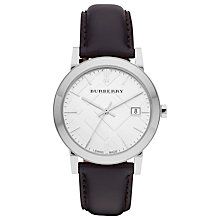Buy Burberry BU9008 Unisex The City Date Leather Strap Watch, Black/White Online at johnlewis.com