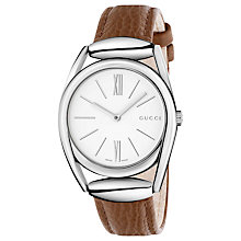 Buy Gucci YA140401 Women's Horsebit Leather Strap Watch, Brown/White Online at johnlewis.com