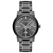 Buy Burberry BU9902 Men's The City Date Bracelet Strap Watch, Gunmetal Online at johnlewis.com