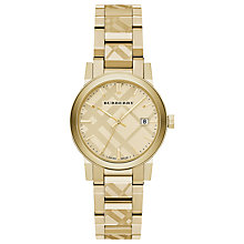 Buy Burberry BU9145 Women's The City Date Bracelet Strap Watch, Gold Online at johnlewis.com